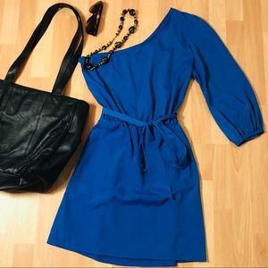 One Shoulder Royal Blue Belted Pocket Dress